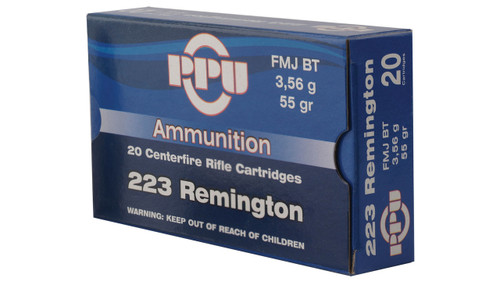 PPU Ammo 5.56mm XM193 55gr, FMJ, 20rd/Box