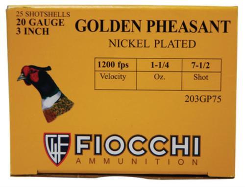 """Fiocchi Golden Pheasant Loads 20 Ga, 3"""", 1200 FPS, 1.25 oz, 7.5 Shot, 25rd/Box"""