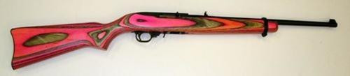 """Ruger Carbine 18"""" Barrel, Pink and Black Laminate Stock, 10 Rnd Mag"""