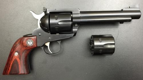 """Ruger Blackhawk Flattop .357 Mag/9mm, 5.5"""", 6rd, Two Cylinders, Wood/Blued"""