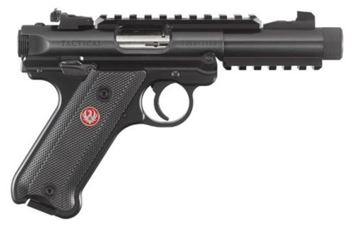 Ruger Mark IV Tactical .22 LR 4.4 Inch Threaded Barrel Adjustable Rear Sight Top/Bottom Picatinny Rail Checkered Natural Angle Grip 10 Round