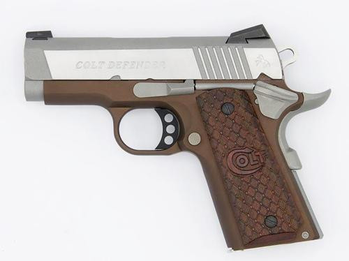 """Colt Defender 1911 45 ACP 3"""" Barrel Earth Brown Novak Dot Sights 7rd Mag"""