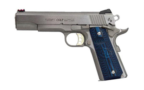 "Colt Competition Govt 38 Super, 5"" Barrel SS Finish, G10 Blue Grips, NovakSights 9rd Mag"