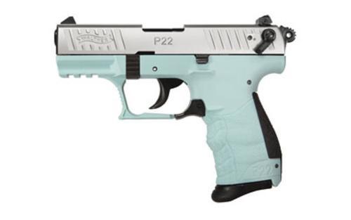 "Walther P22QD .22LR 3.42"" Threaded Barrel Angel Blue Finish Picatinny Rail 10rd Mag"