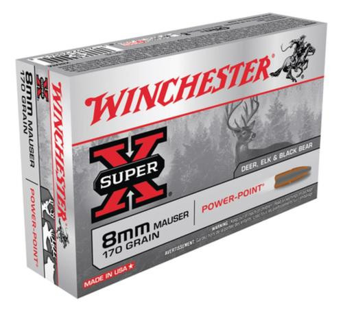 Winchester Super-X 8mm Mauser 170gr, Power-Point, 20rd/Box