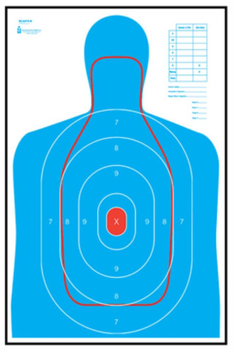 Looper Law Enforcement B-27E and FBI Q Combination Target 23x25 Inches Blue and Red 100 Per Package