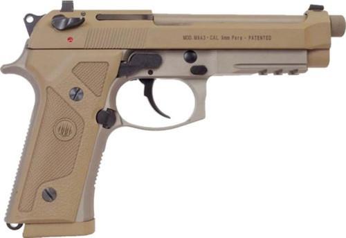 "Beretta M9A3 9mm Flat Dark Earth 4.9"" Barrel Night Sights, Universal Decock Levers 3- 17 Rd Mags"