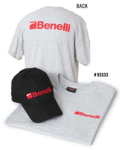 Benelli T-Shirt & Hat Combo Pack, Heather Gray T-shirt, Benelli Black Hat X-Large