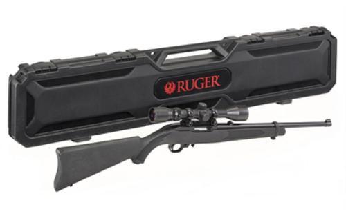 """Ruger 10/22 Carbine 22LR, 18.5"""" Barrel, Satin Black, Weaver Scope and Case, 10Rd Mag"""