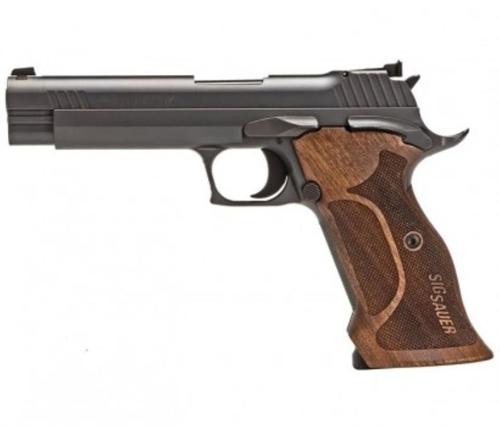 "Sig P210 Target Single 9mm, 5"", Walnut Grip, Black Nitron Stainless Steel, 8rd"