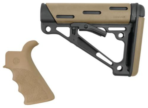 Hogue AR-15/M16 Collapsible Buttstock Kit With Finger Groove Beavertail Grip Mil-Spec Buffer Tube Flat Dark Earth
