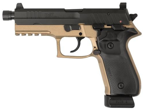 "Arex Rex Zero 1T Tactical, 9mm, 4.9"" TB, 20rd, Flat Dark Earth Frame/ Black Slide"