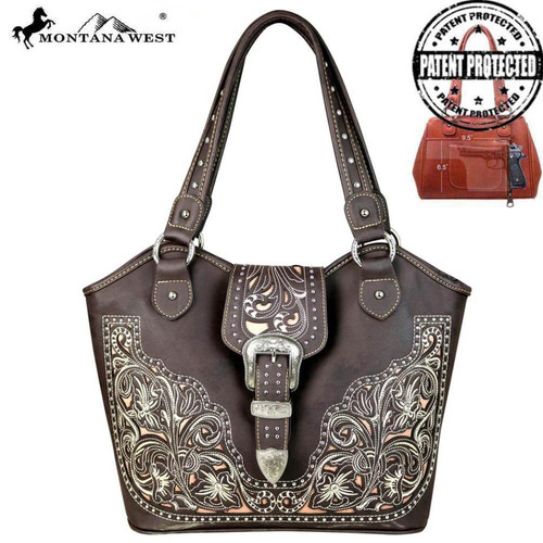 Montana West Concealed Handgun Collection Trapezoid Tote/Crossbody, Coffee