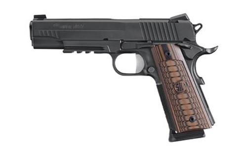 Sig 1911, 45 ACP, 5In, Select, Black, Sao, Siglite, Select, (2) 8RD Steel Mag, Rail