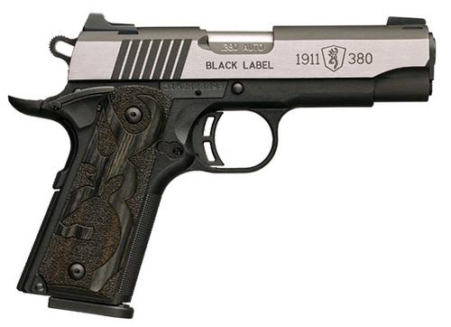 "Browning 1911 380ACP, Black/Blued, Med Pro, 3.58"", Night Sights, Laminated"