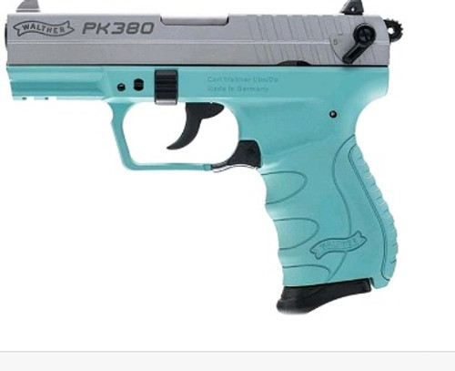 "Walther PK380 .380ACP 3.66"" Barrel SS Slide W/Angel Blue Frame Used"
