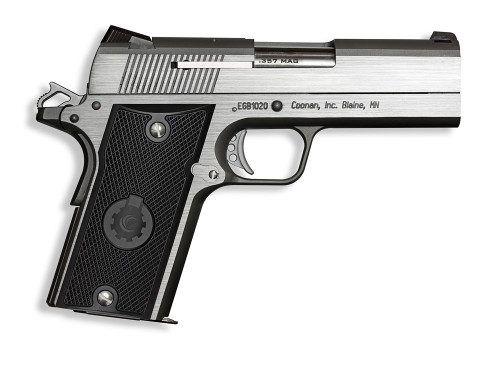 """Coonan Compact 357 Mag, 4"""", Black Ionbond Stainless, Fixed White Dot Sights, Black Alum Grips, 2 Mags (Special Order)"""