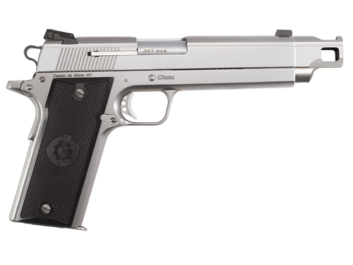 """Coonan Compensated 357 Mag, 5.7"""", Satin Stainless, Fixed Black Sights, Black Alum Grips, 1 Mag (Special Order)"""