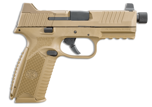 """FN 509T Tactical 9mm 4.5"""" Barrel FDE Finish, 3 Dot Night Sights, 2- 24rd and 1- 17rd Mags"""