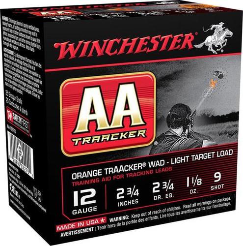 """Winchester AA Tracker 12 Ga, 2-3/4"""", #9 Lead Shot, 1-1/8 oz, 25rd/Box"""