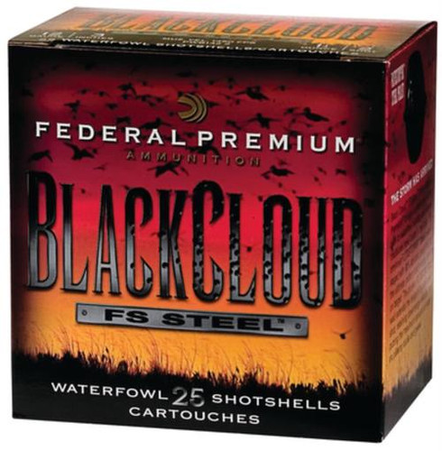 "Federal Premium Black Cloud Waterfowl 12 Ga, 3"", 1450 FPS, 1.25oz, 4 Shot, 250rd/Case (10 Boxes of 25rd)"