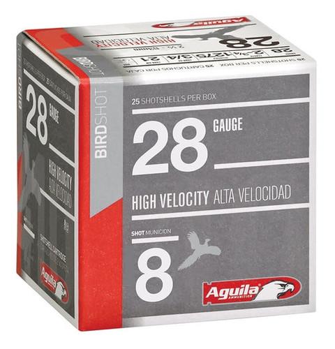 "Aguila Hunting High Velocity 28 Ga, 2.75"", 3/4oz, 8 Shot, 25rd/Box"