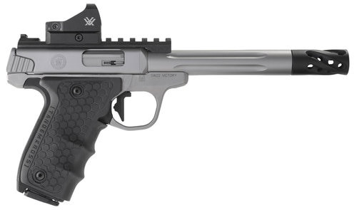 """Smith & Wesson VICTORY Performance Center 22LR 6"""" Fluted Barrel Target WRed Dot Sight and Muzzle Brake"""