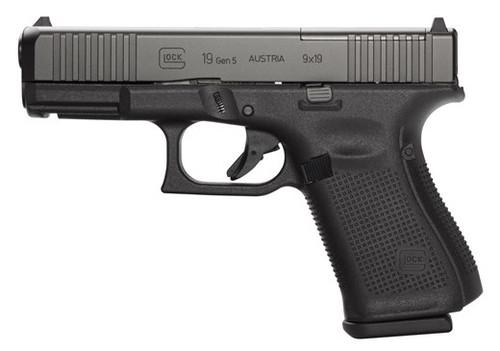 """Glock 19 Gen 5 MOS Compact 9MM, 4"""" Barrel, Fixed Sights, 3- 15Rd Mags, Front Serrations, Ambi Slide Stop, Gen5"""