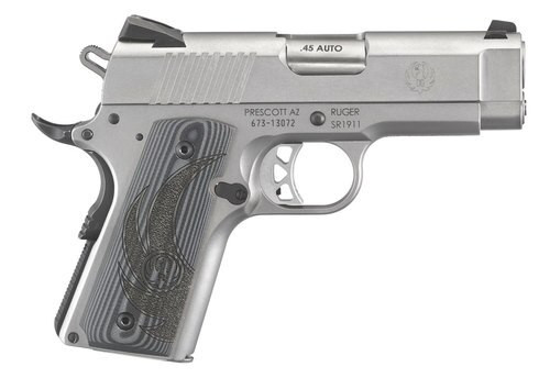 """Ruger SR1911 45 ACP, 3.6"""", Gray G10 Grips, Stainless Steel, 7rd"""