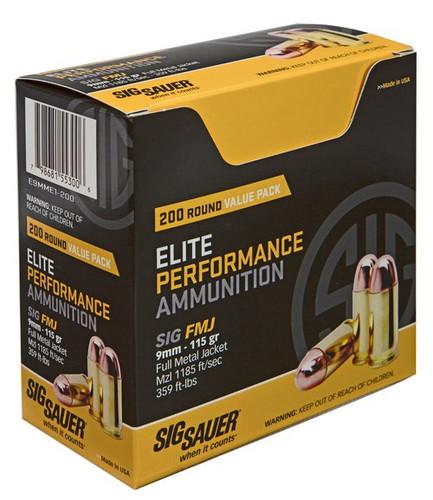 Sig Elite Ball 9mm 115gr, Full Metal Jacket, 200rd/Box