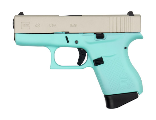 "Glock G43 9mm, 3.41"" Barrel, 6rd, Aluminum Cerakoted Slide, Robins Egg Blue Frame"