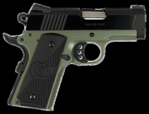 "Colt 1911 Defender 45 ACP 3"" Barrel, Black Cherry G10 Grip Green Aluminum Alloy Frame 7rd Mag"