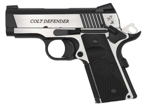 "Colt Combat Elite Defender 1911, Compact, 9MM, 3"" Barrel, SS Two-Tone Finish, G10 Grips, 8rd Mag, Novak Night Sights"