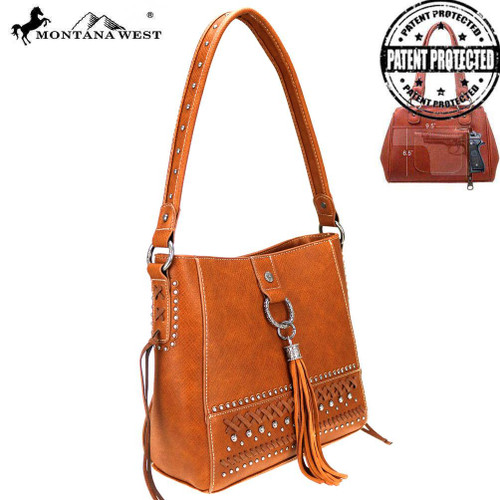 Montana West Fringe Collection Concealed Carry Hobo - Brown - Impact ... 2688a3e718e1e