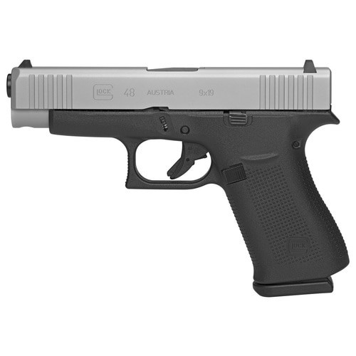 """Glock 48 Silver Compact 9mm, 4.17"""" Barrel, Polymer Frame, Glock Night Sights, 2x10rd Mags"""