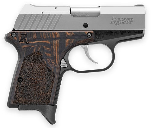"Remington RM380 Micro Executive 380 ACP 2.75"" Barrel Laminate Macassar Grip Black Aluminum Frame SS Slide 6rd Mag"