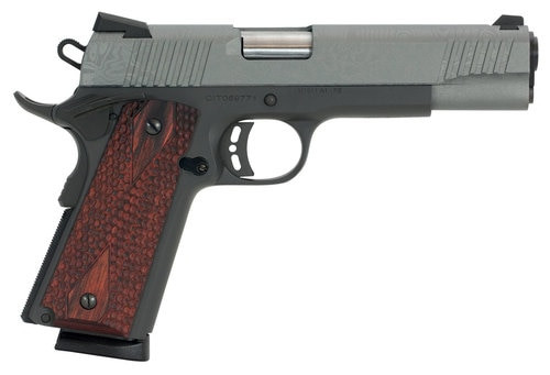 "Citadel 1911 A1 Madagascar, .9mm, 5"" Barrel, 8rd, Redwood Grips, Laser Etched Gray Slide, Black Flame"