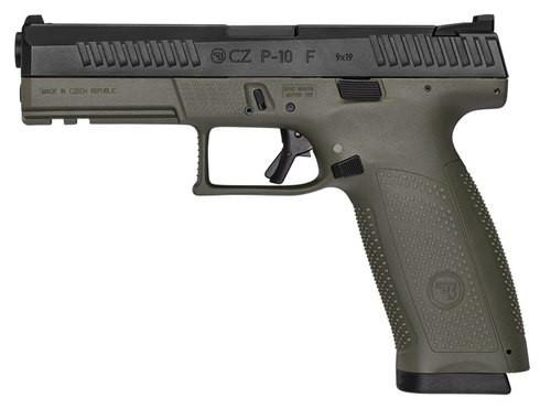 """CZ P-10 Full Size, 9mm, 4.5"""" Barrel, 10rd, Night Sights, OD Green"""
