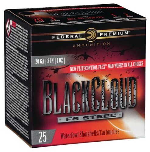 "Federal BlackCloud FS Steel 20 Ga, 3"", 1oz, 3 Shot, 25rd/Box"