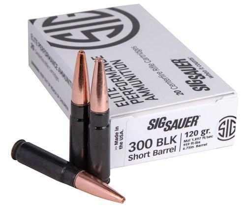 Sig Ammo Elite 300 Blackout 120gr, SBR Solid Copper, Black Case, 20rd Box