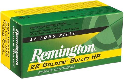 Remington Ammo Golden Bullet High Velocity 22LR 36gr, Plated Hollow Point, 225rd/Box