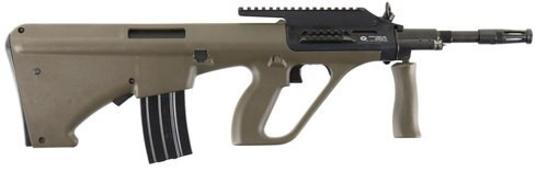 """Steyr Arms, AUG A1, Semi-automatic, 223 Rem/5.56mm, 16"""" Barrel, Green NATO Stock, QD Front Sling Swivel, 30Rd, High Rail"""