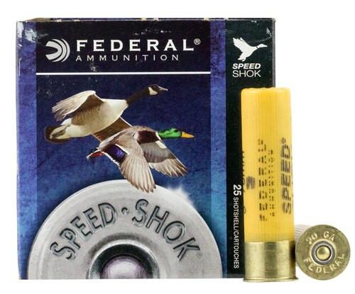 "Federal Speed-Shok 20 Ga, 3"", 7/8oz, Steel, 1550 FPS, 3 Shot, 25rd/Box"