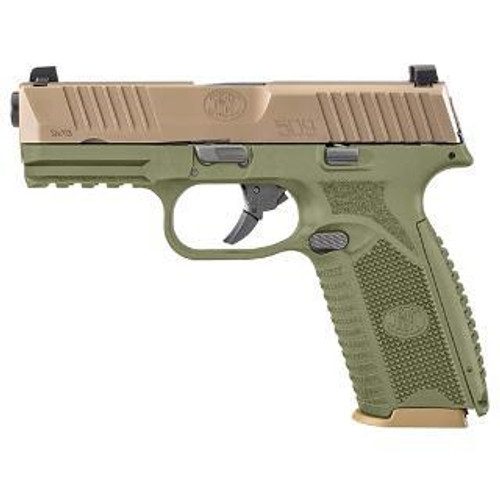 "FN 509 9mm, 4"" Barrel, OD Green Frame, Flat Dark Earth Slide, 17rd"