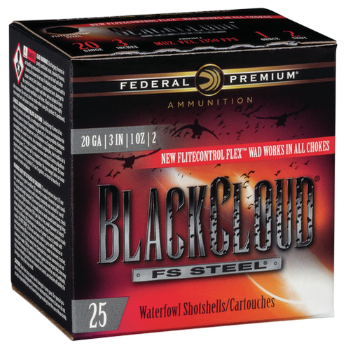 "Federal BlackCloud 20 Ga, 3"", 1oz, 2 Shot, 1350 FPS, 25rd/Box"