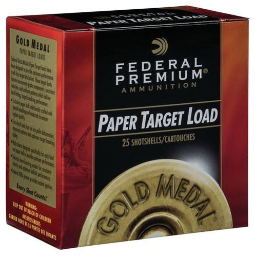 "Federal Gold Medal Paper 12 Ga, 2.75"", 1-1/8 oz, 7.5 Shot, 1145 FPS, 25rd/Box"