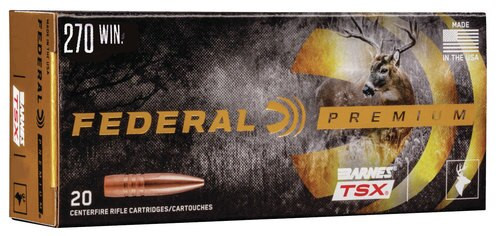 Federal Premium 270 Win 130gr, Barnes Triple-Shock X Bullet (TSX), 20rd/Box