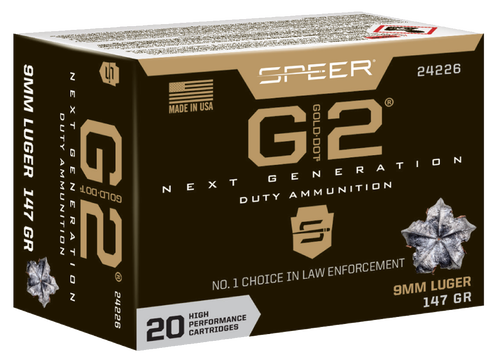 Speer Gold Dot G2, 9mm, 147Gr, Gold Dot Hollow Point, 20rd Box