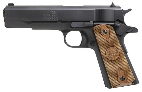 "Iver Johnson 1911 A1 Government, 9mm, 5"", 9rd, Walnut Grips, Black"