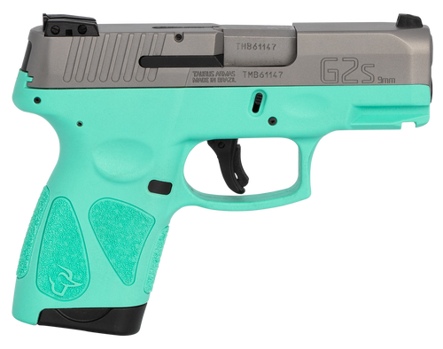 "Taurus G2S, 9mm, 3.26"" Barrel, 7rd, Stainless Slide, Cyan"